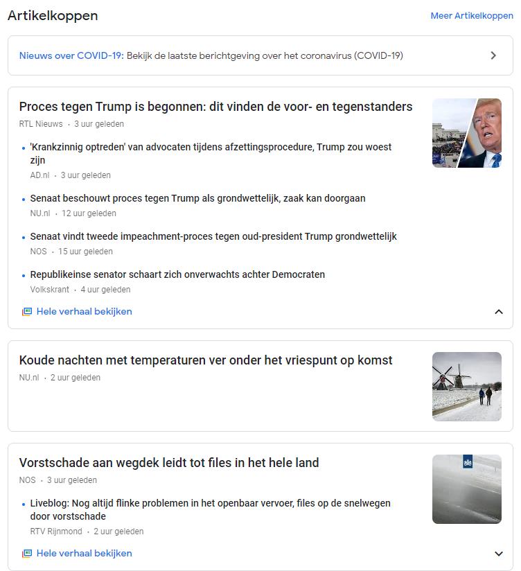 Google nieuws links